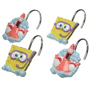 Spongebob Shower Curtain Rings Bubbly Fun Bath Accessories
