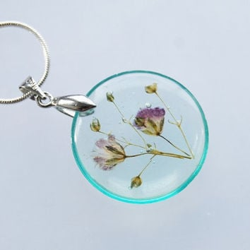 Petite Real Flower Necklace Aqua Purple Baby's Breath Small Resin Jewelry Dandelion Transparent Pendant 925 Silver Plated