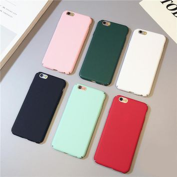 2016 Newest Silid Color  Funda Letter Case Matte Hard Cover Capa Cuqe Fundas for iphone 7 6s 6 Plus 5 5s Plastic Phone Case