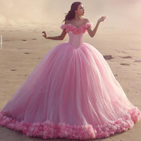 Floral Wedding Dress Ball Gown Pink Bridal Gowns Prom party Gown Quinceanera Dresses