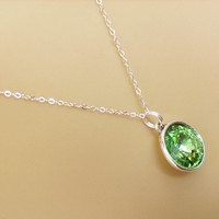 Peridot Green- Sterling Silver- Swarovski Rivoli Round Crystal Drop Pendant Necklace