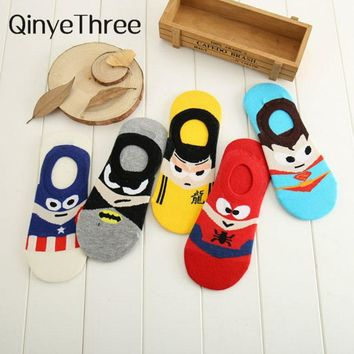 Superman Batman Captain USA classical cartoon summer style happy socks character pattern Superheroes socks for man woman 35-40