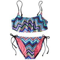 Xhilaration® Junior's Zig Zag Print 2-Piece Swimsuit -Multicolor