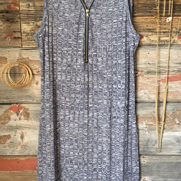 Zip Me Up Tunic Dress: Blue