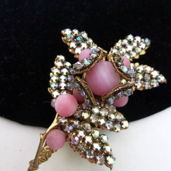 Miriam Haskell Jewelry Flower Glass Rhinestone Pink Bead Gold Plate Brooch Pin