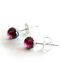 Mini purple red garnet gemstone ball stud or post style earrings, January birthstone jewelry in sterling silver, small 5mm ball studs