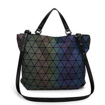 Women Handbag Geometric Laser BaoBao Handbag Women Bag Luminous Lingge Bao Bao Tote Fashion Briefcase Shoulder Bag Bucket bag