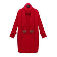 Red Midi-Length Pockets Knit Sweater Dress With Scarf