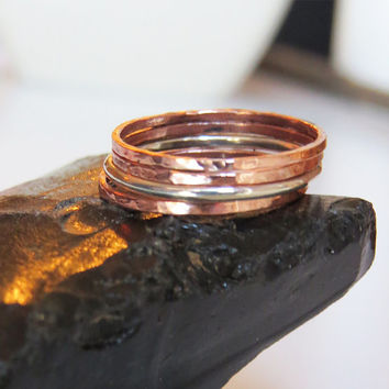 Set of 4 Super Thin Stackable Rings - 3 Hammered Copper Ring & 1 Smooth Finishes Rilver Ring - Handmade Jewelry For Everyday Use