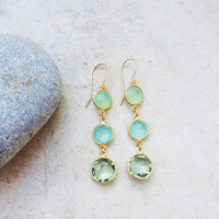 Dangle Earrings bridal wedding jewelry simple,long light sparkle green amethyst and mint sea blue and mint chalcedony earrings Israel