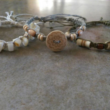 Bracelet Bundle of Three, Stackable Bracelets, TriColored Hemp, Wood Beads, Natural Jewelry, Shell Beads, Nature Lover, Free Shipping in USA