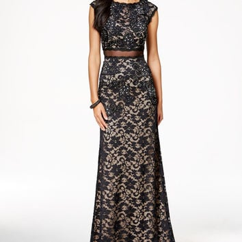 Betsy & Adam Petite Open-Back Lace Illusion Gown