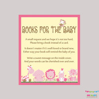 Girl Safari Baby Shower Bring a Book Instead of a Card Invitation Inserts - Instant Download - Pink Book Request Safari Baby Shower BS0001-P
