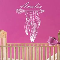 Feathers Wall Decal Girl Name Bird's Feather Arrow Sticker Personalized Name Nursery Baby Kids Custom Name Vinyl Sticker Decals Home Decor Art Bedroom Design Interior C420