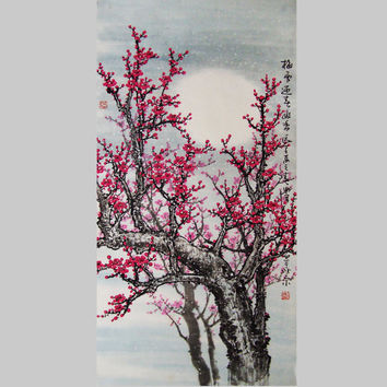 Original painting  chinese Art Lovely cherry blossom tree by art68