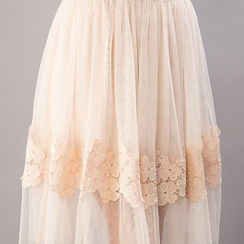 High Waist Floral Detail Tulle Skirt