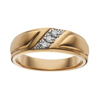 Cubic Zirconia 14k Gold Over Silver Wedding Band - Men (Grey)