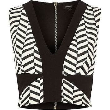 River Island Womens Black and white jacquard cut out crop top