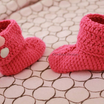 Kids Shoes Baby Newborn booties Crochet toddler clothing pink