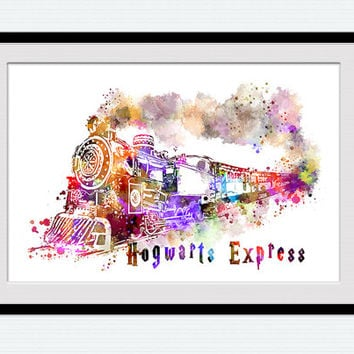 Hogwarts express watercolor art print Harry Potter colorful poster Harry Potter art decor Home decoration Kids room art Nursery decor W529