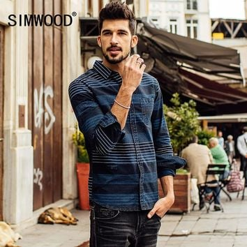 SIMWOOD 2017 New Autumn  Winter Long Sleeve casual striped shirts men fashion cotton brand clothing High Quality  CS1558