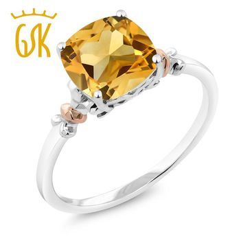925 Sterling Silver 3.00 Ct Natural Yellow Citrine and 10K Rose Gold Ring