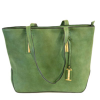 Basic Faux Leather Tote With Gold Accents