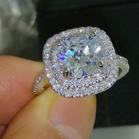 Jewelry 925 sterlling silver filled full topaz CZ Gem wo wedding simulated Diamond
