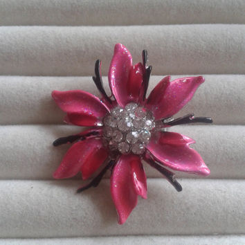 Closing sale - pink flower crystal  brooch pin