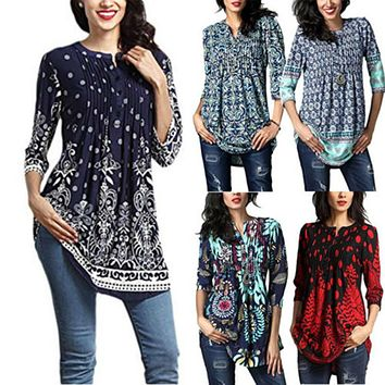 Women's Fashion Casual Loose Long Sleeve Cotton Blouse Shirt Tunic Tops Women Floral Blouse