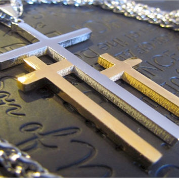 Large Silver Gold Calvary 3 Cross Necklace Pendant Heavy Chain Men Boys Christian Jewelry - Saint Michaels Jewelry - Calvary Three Cross