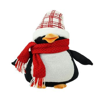 "13.75"" Penguin Wearing a Scarf and Plaid Hat Christmas Tabletop Decoration"