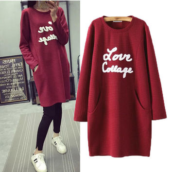 Stylish Round-neck Long Sleeve Alphabet Pattern Pullover Women's Fashion Tops Hoodies [4919028036]