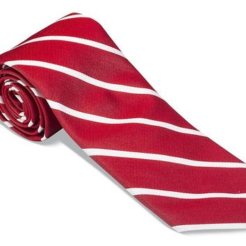 Red/ White Buckingham Striped Necktie - F2795