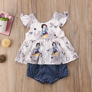 Baby Girl Snow White Princess Pattern Vest Tops T-shirt Dot Shorts Briefs 2pcs Outfits Set Costume
