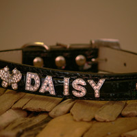 Leather dog collar, Dog Collar with Personalized Rhinestone Name and Clear Rhinestone Butterfly