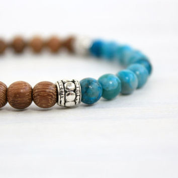 Women Turquoise Wood Mala Stretch Bead Stack Bracelet Bohemian Wooden Stone Jewelry