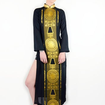 Free Shipping - Vtg SILK Black and GOLD Egyptian Symbol Kimono Style SLIT Maxi Dress