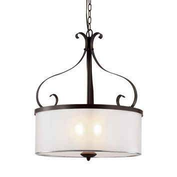 Trans Globe Lighting 70388 ROB Rubbed Oil Bronze Eclectic Tempo 16-Inch Pendant with Frosted Glass Diffuser, Vellum Acrylic Shade
