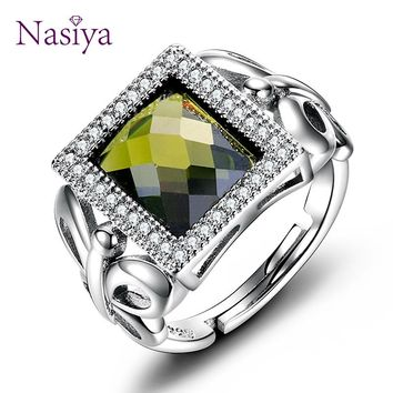 Women's Silver Jewelry Rings Olive Green Peridot Gemstone Ring With AAAA Cubic Zirconia High Quality Mother's Gift