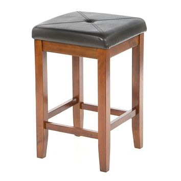 Set of 2 - 24-inch High Cherry Bar Stools with Cushion Faux Leather Seat