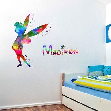 kcik2007 Full Color Wall decal Watercolor Character Disney Peter Pan Tinker Bell Sticker Disney girl name personalized Child's name