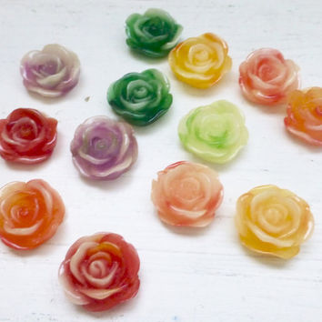 13 Flower Rose Cabochons- 11mm- Resin Flat Back Flowers- Mixed Color