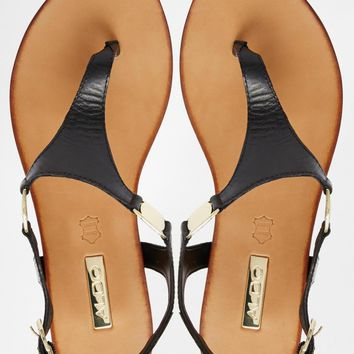 ALDO Bellia Black Leather Thong Flat Sandals