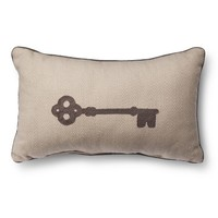 Threshold™ Embroidered Key Toss Pillow - Cream (Oblong)
