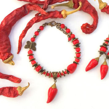 Chili Pepper, Red Chili, Coral Jewelry, Chili Pepper Bracelet, Red Chili Earrings, Charm Bracelet, Red Jewelry, Spring Jewelry, Gift For Her