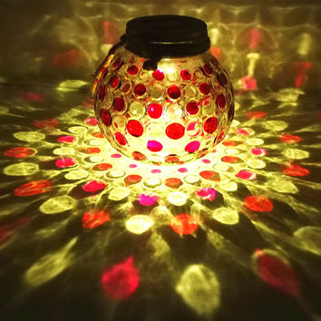 Red Diamond Solar Light Glass Jar Sogrand Small Glass Jars with Lids Hanging Lights Hanging Solar Lights Outdoor Pink