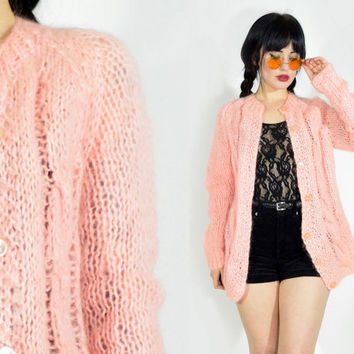 vintage 70s pastel pink cardigan 1970s woven knit sweater jacket hippie boho fuzzy pale pink semi sheer small