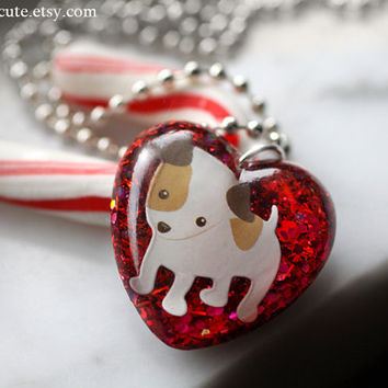 Christmas Puppy, Necklace, Gift for Girls, Stocking Stuffer, Dog Lover Gift Idea, Christmas Necklace, Girls Necklace, Dog Necklace, isewcute
