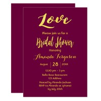 Love bridal shower purple faux gold letters card